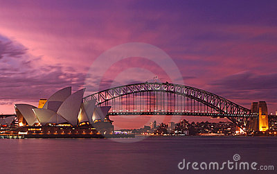 Sydney Harbour Bridge & Opera House Editorial Stock Photo