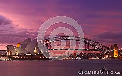 Sydney Harbour Bridge & Opera House Editorial Stock Photo