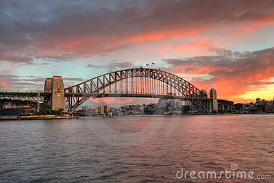 Sydney Harbour Bridge at sunrise Editorial Image
