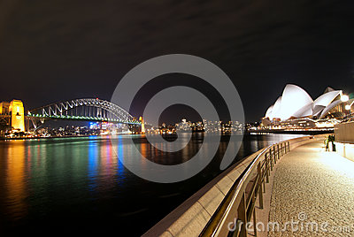 Sydney Harbour At Night fisheye Editorial Stock Photo