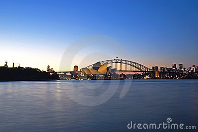 Sydney Harbour Skyline At Dusk