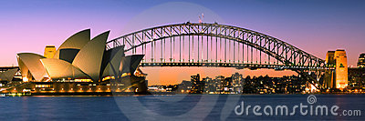 Sydney Harbour Skyline Panorama At Twilight Editorial Photo
