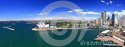 Sydney-October 2009 : Sydney harbor look from Harbour bridge. Editorial Photo