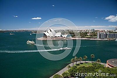 Sydney-October 2009 : Sydney harbor look from Harbour bridge. Editorial Photo