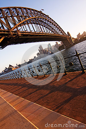 Free Sydney Opera House And Harbour Bridge At Sundown Stock Photos - 57954303