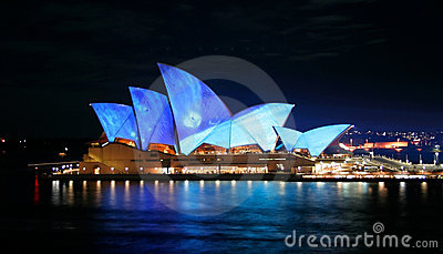 Sydney Opera House, Australia, Blue lights Editorial Photography