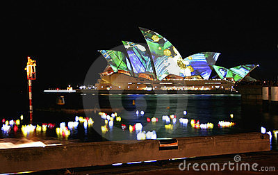 Sydney Opera House, Australia, coloured lights Editorial Stock Photo