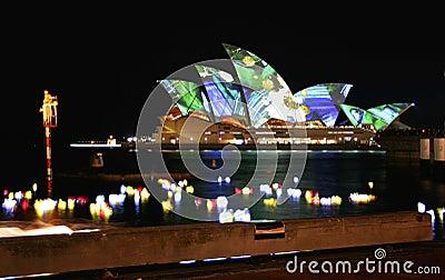 Sydney Opera House, Australia, coloured lights Editorial Stock Photo