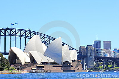 Sydney Opera House, bridge and North Sydney Editorial Photography