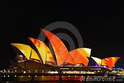 Sydney Opera House with festival lighting. Editorial Stock Photo