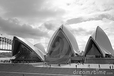 Sydney Opera House front black-and-white Editorial Stock Image