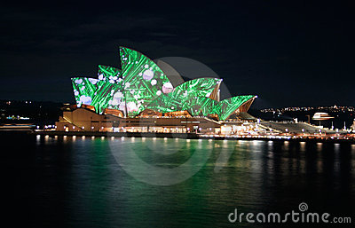 Sydney Opera House green lights, Australia Editorial Photo
