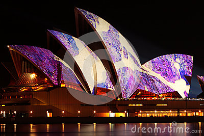 Sydney Opera House illuminated Vivid Festival Editorial Photography