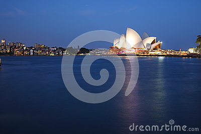 Sydney Opera House with Kirribilli at blue hour