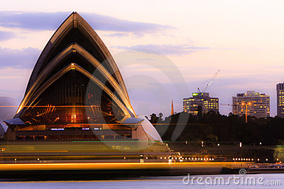 Sydney Opera House with light streaks. Editorial Stock Image
