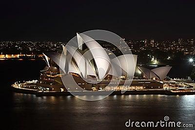 Sydney Opera House bright at night Editorial Stock Photo