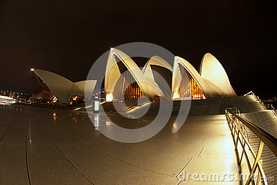 Sydney Opera House At Night fisheye Editorial Image