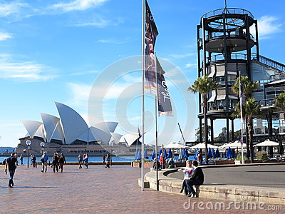 Sydney Opera House with Overseas Terminal Editorial Stock Image