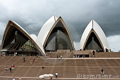Sydney Opera House under cloudy skies Editorial Image