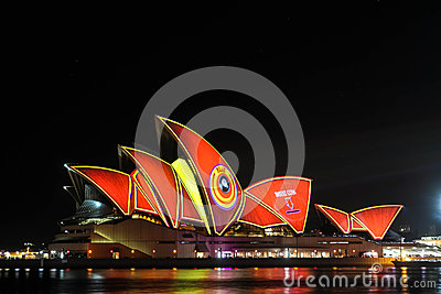 Sydney Opera House under festival designs Editorial Stock Image