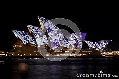 Sydney Opera House under festival lights. Editorial Stock Image
