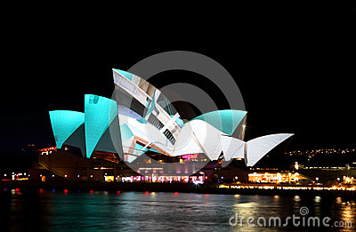 Sydney Opera House on Vivid Sydney Editorial Photo