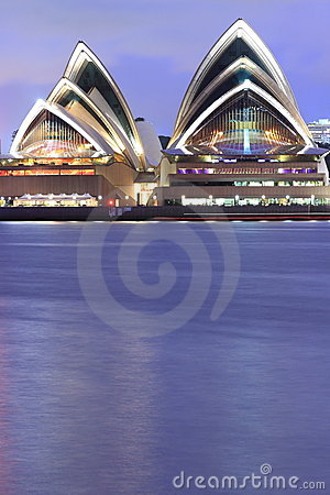 Sydney Opera House waterfront at dusk Editorial Stock Image
