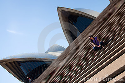 Sydney Opera House and young woman Editorial Stock Image