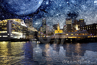 Sydney Opera Quay with Galactic Background