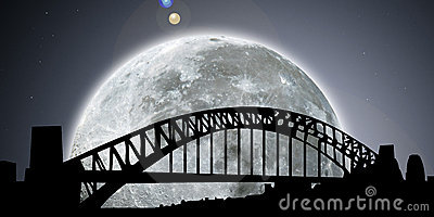 Sydney skyline night with moon