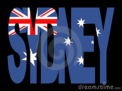 Sydney text with flag