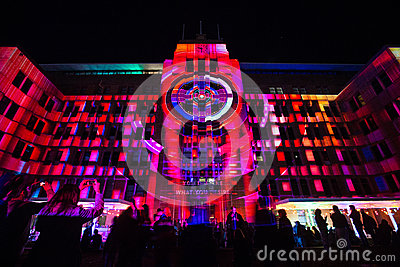 Sydney Vivid light festival 2014 Circular Quay Editorial Photo