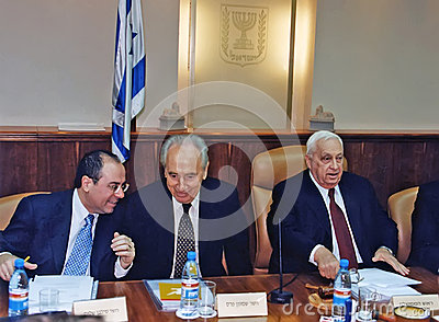 14.Sylvan Shalom, Shimon Peres and Ariel Sharon Editorial Image