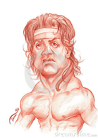 Sylvester Stallone Caricature Sketch Editorial Image