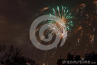 Sylvesterabende Feuerwerksbildschirmanzeige