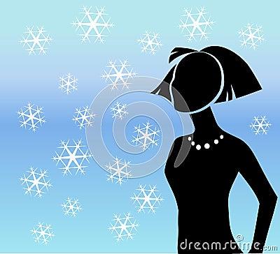 Sylwetki płatków śniegów zima