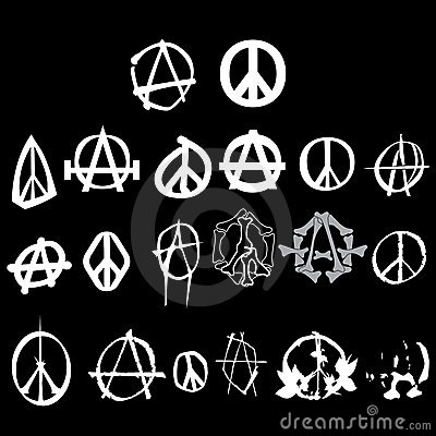 Symbol anarchy peace logo pack isolated vector
