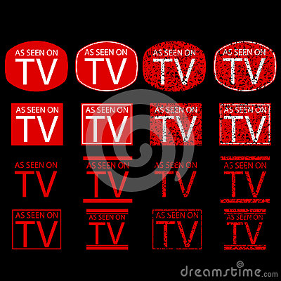 Symbol of As Seen on TV, red at black background Vector Illustration