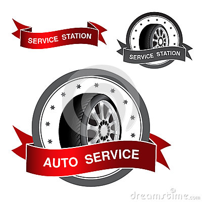 Symbol of auto service - sign, icon, sticker