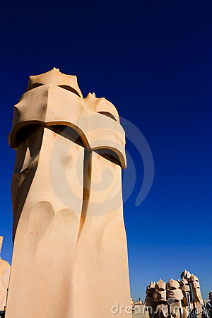 Symbol of Barcelona. Chimneys by Gaudi