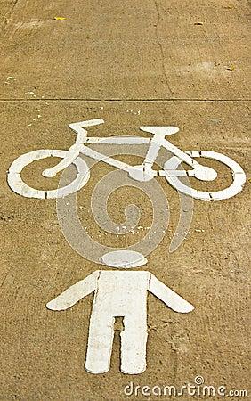 Symbol of bike and walking lane
