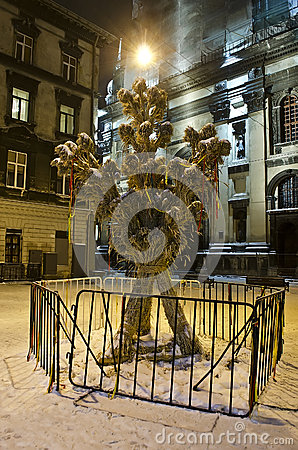 Symbol of Christmas - Didukh, in the center of Lviv city