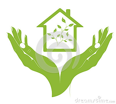 A symbol eco houses in female hands.