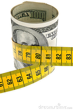 Symbol economy package with dollar bill and tape