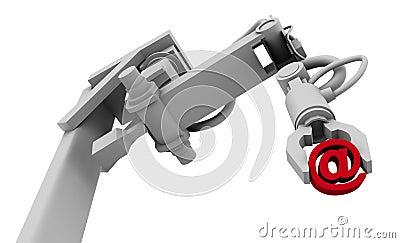 @ Symbol in Grip of Robot Arm