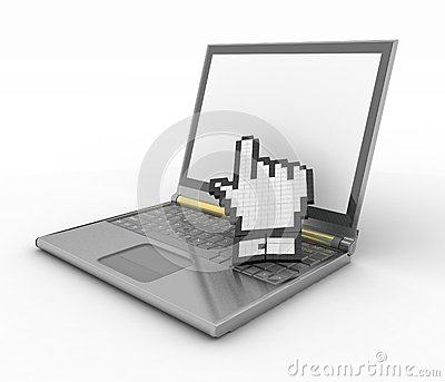 Symbol of hand on the laptop screen
