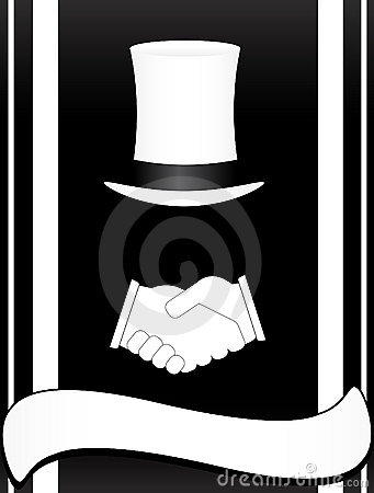 Symbol with handshake and hat