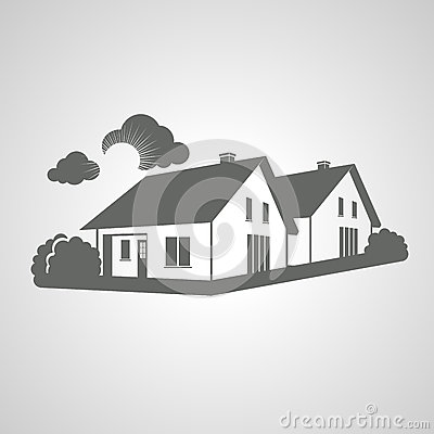 Symbol of home, group of houses icon, realty silhouette, sign of real estate