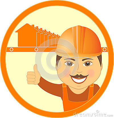 Symbol with house and cartoon worker