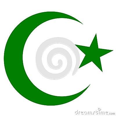 Symbol of Islam, crescent and star dark green Vector Illustration